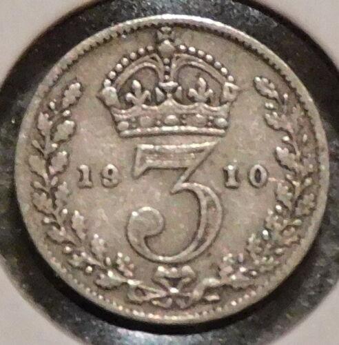 British Silver Threepence - 1910 - King Edward VII - $1 Unlimited Shipping