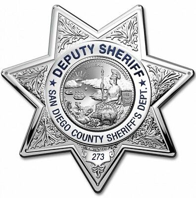 Deputy San Diego Sheriff's Department Badge All Metal Sign With Your Badge #