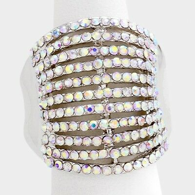 Cocktail Ring Multi Row Rhinestone Pave Crystals Wide Stretch Evening SILVER (Crystal Evening Cocktail Ring)