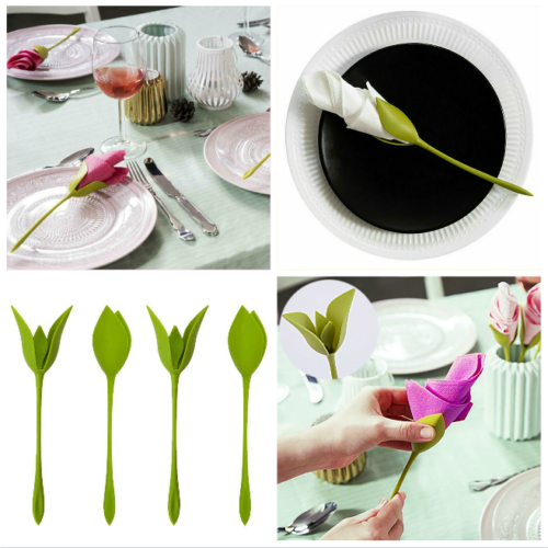 1~40pcs Bloom Napkin Holders for Table Plastic Twist Flower