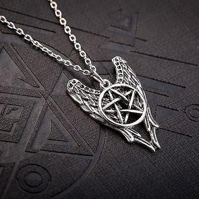 Supernatural Halskette Pentagramm Engel Winchester Amulett Schmuck Kette