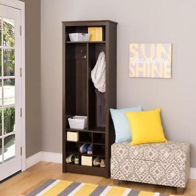 Wood Hall Tree, 2-Hooks Entryway Hat,Coat Organizer Furniture W/ Shoe Storage