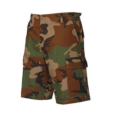 BDU Cargo Shorts / Button Fly 100% Cotton / Woodland Camo Men