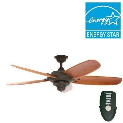 56 Inch Indoor Oil Rubbed Bronze Ceiling Fan W/ 5 Hand-Carved Walnut Blades