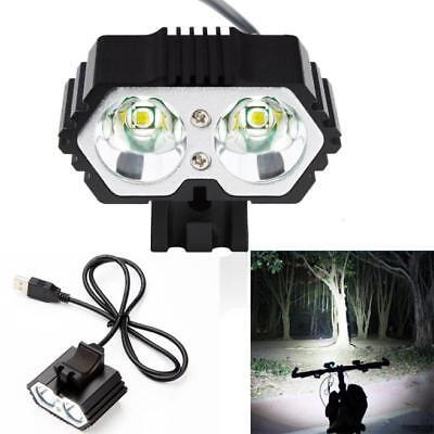 Купить 6000LM 2 X CREE XM-L T6 LED USB Waterproof Lamp Bike Bicycle Headlight 300m