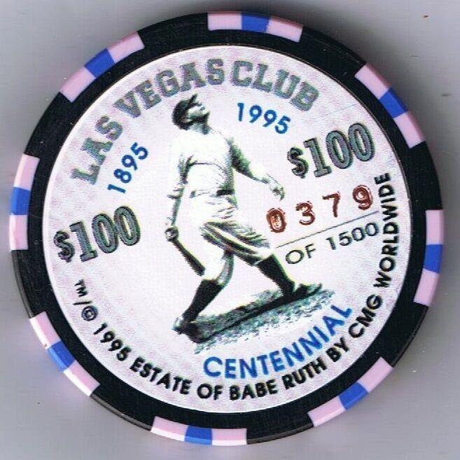 Babe Ruth Las Vegas Club $100 Commemorative Centennial Casino Chip Las Vegas Nv