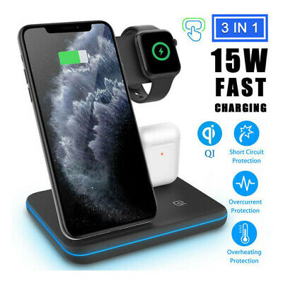 Qi 3 in 1 Wireless Charger Dock Charging Station For iWatch iPhone 8 11 Pro Max