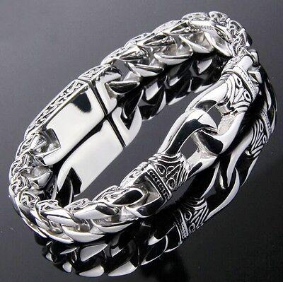 Edelstahl Herren Armband Silber Biker Motorrad Partnerarmband Armkette