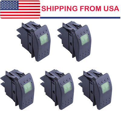 5pcs Waterproof Marine Boat Car Rocker Switch 12v On-off 4pin Green Led Light