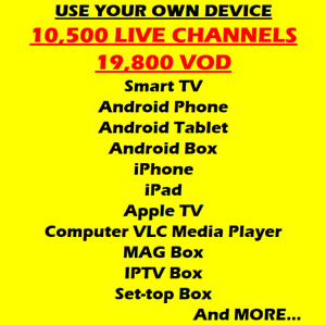 One Year World Wide IPTV live channels subscription