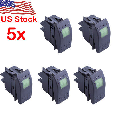 5 Waterproof Marine Boat Car Rocker Switch 12v On-off 4pin Green Led Light Us