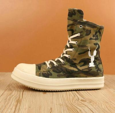 Sneaker Men's Athletic Camo Embroidery High Top Flats Shoes Lace Up Side Zipper  ()