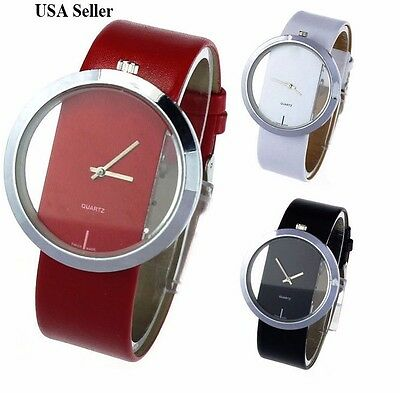 $7.39 - Fashion Luxury Transparent Leather Analog Quartz Girl Women Ladies Wrist Watch