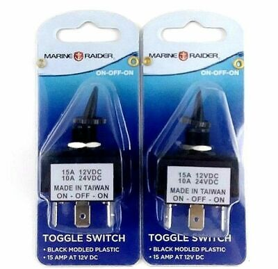 Marine Raider Boating Toggle Switches On Off On Black 15 Amp At 12v Dc 2 Pack