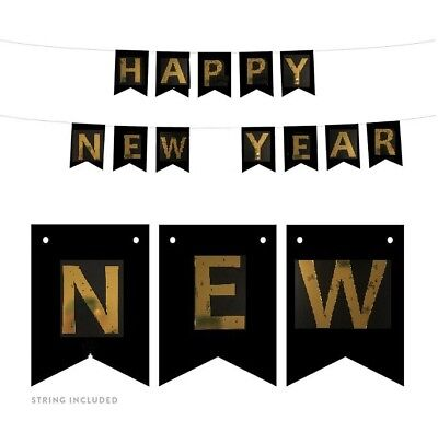 Vintage Happy New Year Eve 2019 Banner Decor Letter Hanging Photo Black Gold HNY
