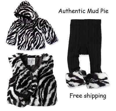 Mud Pie Girls Zebra Faux Fur Vest leggings Coat jacket Cable Knit Jewel - Zebra Girls