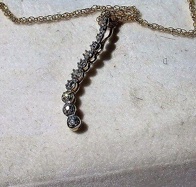 Diamond Accent Journey Pendant - 10K Gold Diamond Accent Journey Pendant on GF Filled Necklace