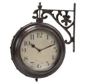 Solid iron decorative wall mount double-sided clock that hangs