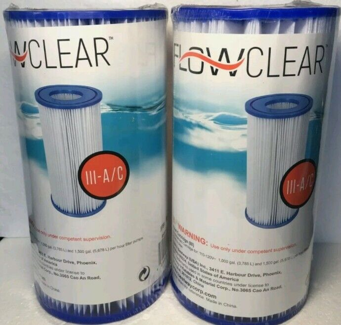 2 Pack Bestway FlowClear Type III (A or C) Swimming Pool Replacement Filter
