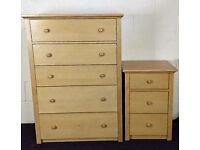 Light Oak Bedside Drawer and Large Drawer SET - RRP - £399.99