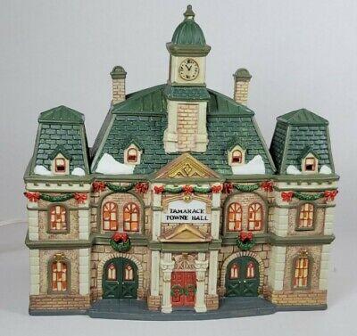 Santa's Workbench Porcelain Lighted House Tamarack Towne Hall 2001 Christmas