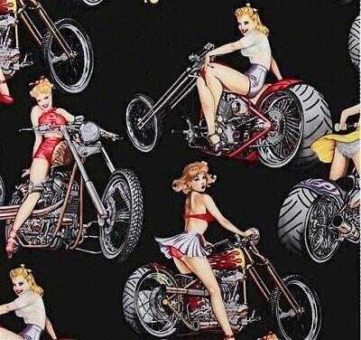 Hot Wheels, Biker Babes,  WOW, 1 Yard Cut Cotton Fabric, Alexander Henry](Hot Wheels Fabric)