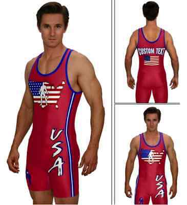 (CUSTOM ADULT & YOUTH USA RED WRESTLING SINGLET INCLUDES CUSTOM TEXT)