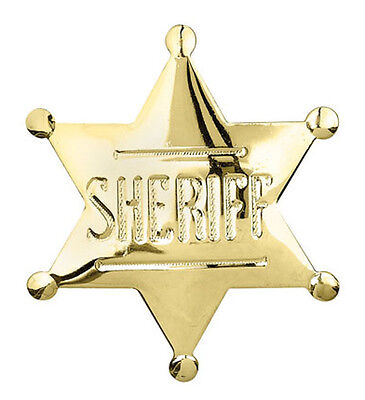 Wild West Gold Plated SHERIFF BADGE - NEW - 2.5
