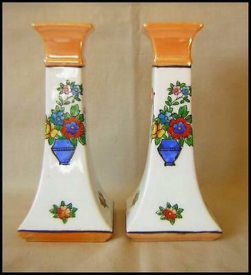 Noritake Pair Candlesticks Swallows Floral Basket Tan Lustre Tops Very Colorful - $36.95