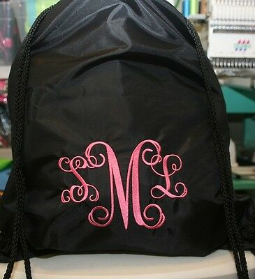 (Monogrammed Black Nylon Cinch Backpack Personalized Many Fonts to choose from)