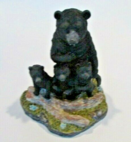 Black Bears Figurine Momma Bear with Three Cubs Wilderness Forest Decor