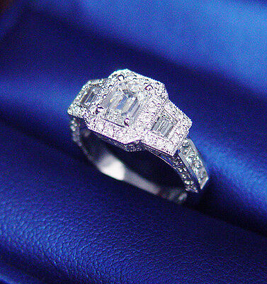2.50 Ct  Emerald Cut Diamond Halo Antique Art Deco Engagement Ring F,VS1 GIA 18K