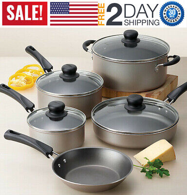 Cookware Set 9-Piece Nonstick Pots And Pans Kitchen Cooking Stainless Champagne
