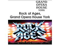 2 x tickets Rock of Ages at York Grand Opera House