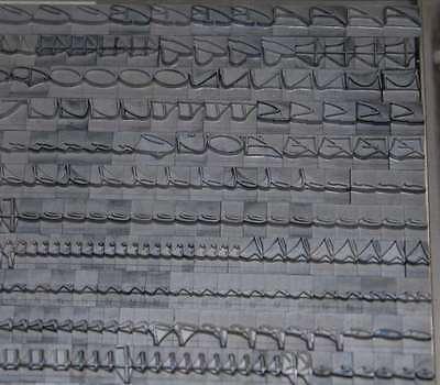 """""""ELEGANCE"""" Bleischrift 28° Bleisatz Buchdruck Bleilettern Handsatz Alphabet ABC"""