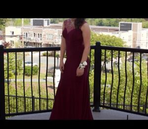 Prom Dress- Wine coloured with Sequence