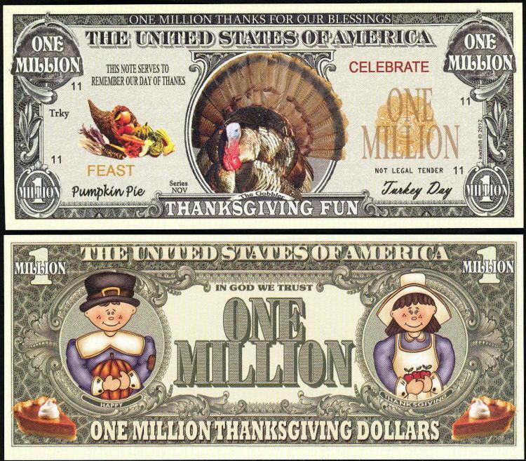 Lot of 25 BILLS - TURKEY MILLION DOLLAR NOVELTY BILL for THANKSGIVING FUN