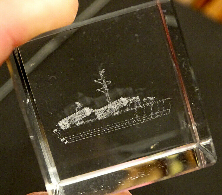 UNIDENTIFIED Cruise Line TRANSPORT SHIP Crystal GLASS BLOCK PAPERWEIGHT