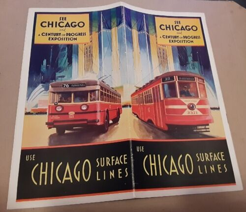 1933 Chicago Worlds Fair Large Foldout Map & Schedule Trolley Bus Lines