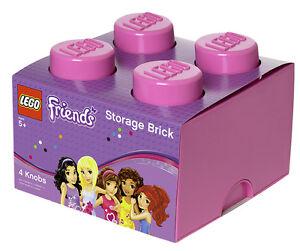 lego friends storage brick xl 4 medium pink stein aufbewahrung dose box kiste ebay. Black Bedroom Furniture Sets. Home Design Ideas
