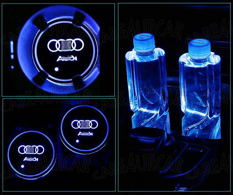 2PCS for Audi AUDI LED Car Cup Bottle Holder Pad Mat Auto Atmosphere Lights Blue