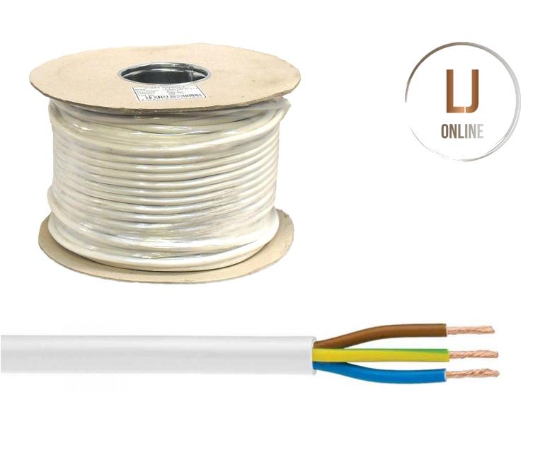 3 Core 2.5mm CABLE Round Flexible PVC Wire 10m 50m 100m 3183Y BLACK WHITE ORANGE