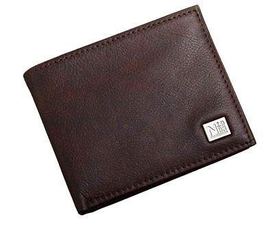 Nautica Mens Genuine Leather - NAUTICA STERN MENS PASSCASE PEBBLED LEATHER BROWN WALLET 31NU22X030 200 GENUINE