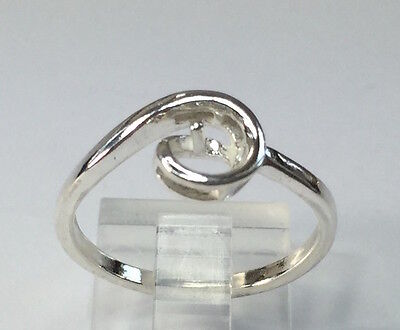 Sterling Silver Ring Setting For (1) 5-6mm Half-Drilled Pearl Size 5, 6, 7 or 8 - Pearl Ring Setting
