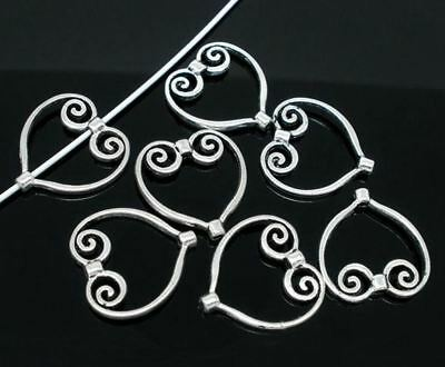 8pcs-Heart shape connector,silver bead frame,spacer beads