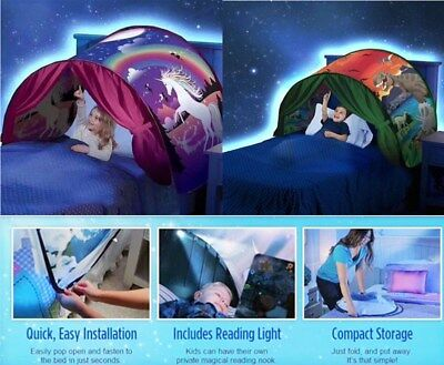Kids Dream Tents Foldable Pop Up Bed Island Indoor Outdoor Pony Dinosaur Star - Kids Pop Stars