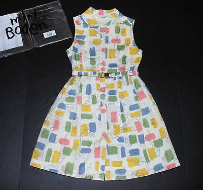 NEW Mini Boden Retro Fifties Shirt Dress Snowdrop Doggies Belted Tank Dress 7-8Y ()