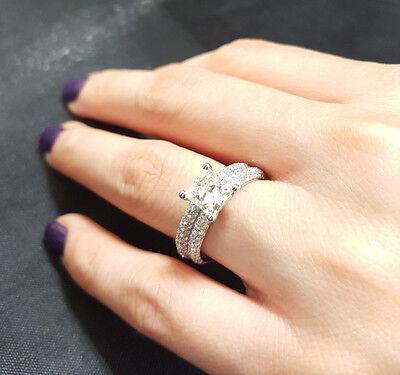 2.30 Ct Princess Cut Diamond Micro Pave Round Cut Bridal Ring Set  H,SI1 GIA 14K