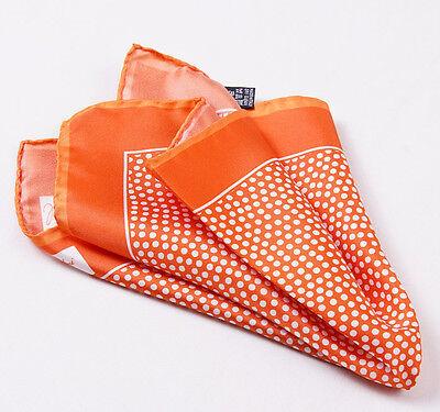 New CESARE ATTOLINI NAPOLI Tangerine Orange-White Dot Print Silk Pocket Square