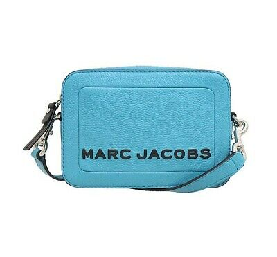 NWT MARC JACOBS The Box Leather Crossbody Zip Logo Boxy Windy Blue M0015088